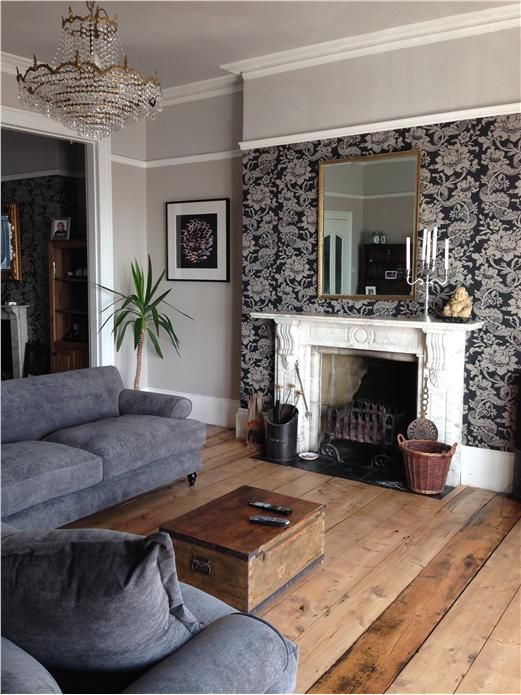 The Versailles BP 2603 Wallpaper In This Living Room Is Complemented With Elephants Breath On Walls For A Bold Feature Thats Still Very Easy To Live