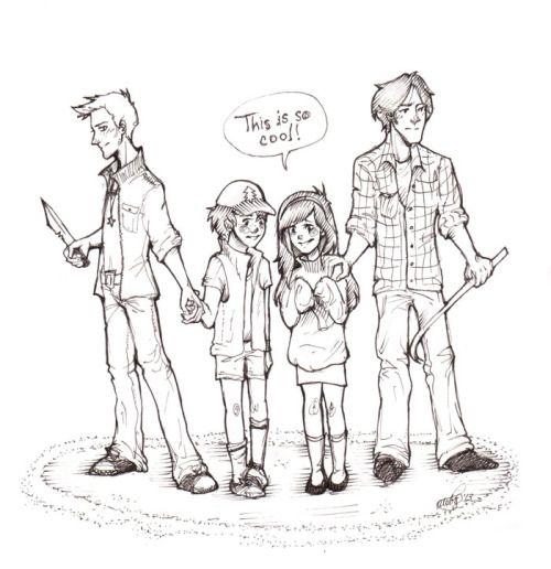 Mabel e Dipper tendo a mesma recaia que eu teria quando eu for lutar ao lado de Sam e Dean.