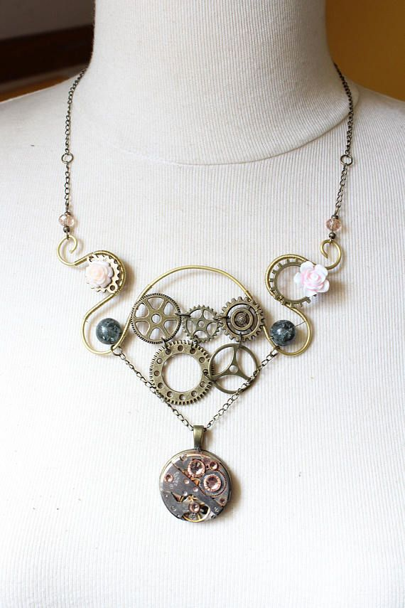 Symetric steampunk necklace in art nouveau motive handmade with brass frame, bronze colored gears, acrylic flowers, mechanical watch pendant