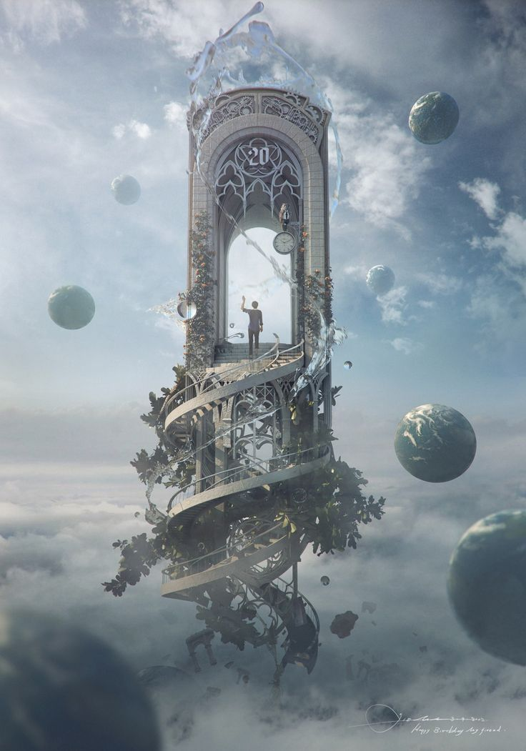"The castle in Act 2 could look like this. Spiral staircase leading to the ""stage"" where princess, prince, and Rusalka have their quarrel. Rusalka runs down the steps to the fishpond. Castle is located up high near the moon to imply that being with the prince is a far-fetched dream."