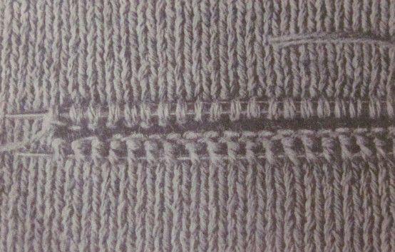Вязание прорезных горизонтальных карманов-способ 1 (рис. 3)-вязка спицами для начинающих