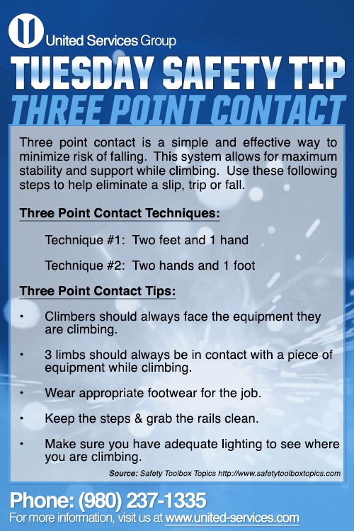 This week's Tuesday Safety Tip is about the Three-Point Contact technique. The three-point technique is a simple and effective way to minimize the risk of falling.   United Services is dedicated making safety information available to our employees and customers to further emphasis our safety culture. The credit for this week's safety information was provided by the Safety Toolbox Talks.  #safety #safetytips #fatigue #tips #nuclearsafety