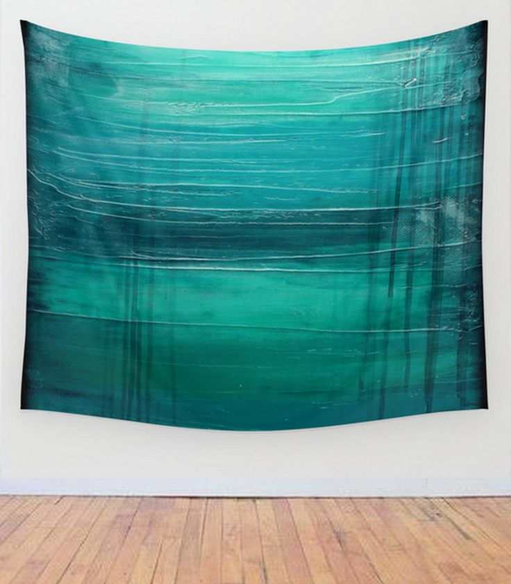 """Items Similar To Teal Purple Abstract Flowers Wall Decor: """"Lagoon"""" – Teal Abstract Art – Wall Tapestry"""