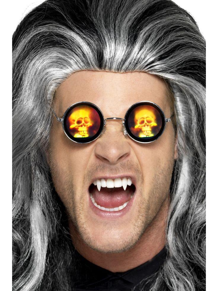 Hehkuva pääkallo-lasit. Pyöreitä aurinkolaseja somistavat pääkallohologrammit, jotka suorastaan hyökkäävät vastaantulijoiden päälle.