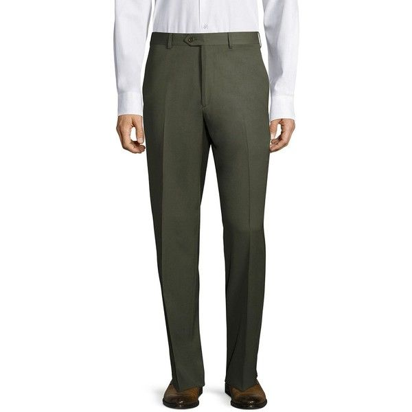 Santorelli Super 130's Regular-Fit Gabardine Trousers (6.875 RUB) ❤ liked on Polyvore featuring men's fashion, men's clothing, men's pants, men's dress pants, mens olive dress pants, mens olive green pants, men's 5 pocket pants, mens lined pants and mens gabardine pants