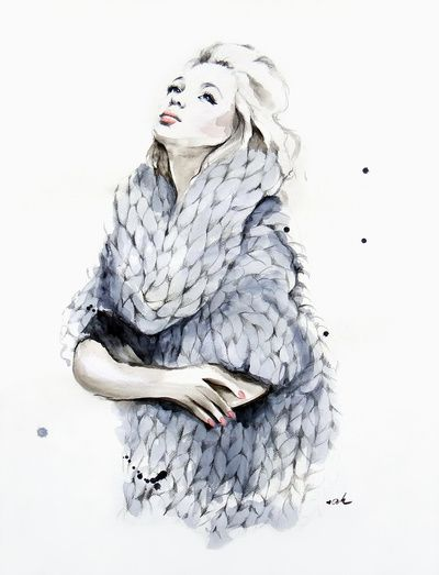 """'Falling For You' by Anna Hammer - Watercolor illustration inspired by the """"Sweater Weather"""" song by THE NEIGHBOURHOOD. It's titled """"Falling For You""""."""