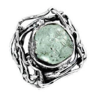 Aqua Blue AQUAMARINE Rough Round Genuine Gemstone, 925 Sterling Silver Hand-Made Statement Ring Sz. 7.5! by Ameogem on Etsy