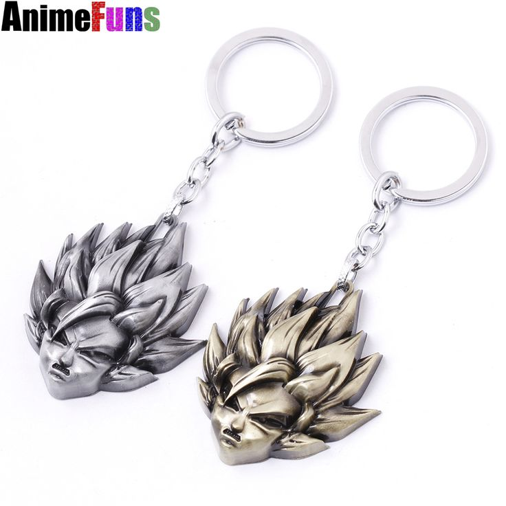 2 colors Anime Dragon Ball keychain Z Son Goku Saiyan 3D Metal Head Pendant Key chain Series Classic Cartoon Keyring