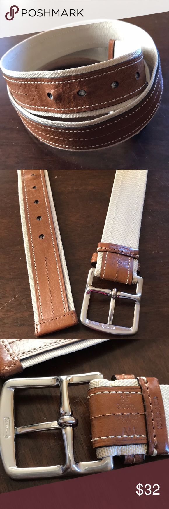 """Men's COACH Belt Very nice men's Coach belt light brown and cream color with silver tone buckle.   Tag Size: 36 Color: Brown/cream Material: Leather and manmade  Condition: Pre owned with minor signs of wear  Approximate measurements  Length: 41"""" to buckle  Width: 1.5"""" Coach Accessories Belts"""