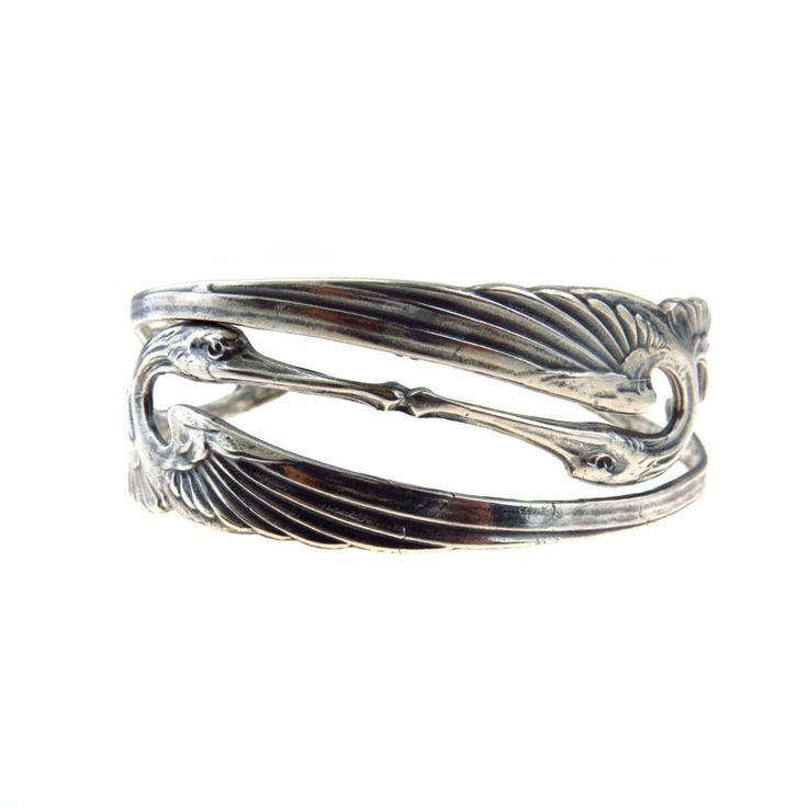 Kissing Cranes Sterling Silver Art Nouveau Cuff Bracelet #vbantiquejewelry