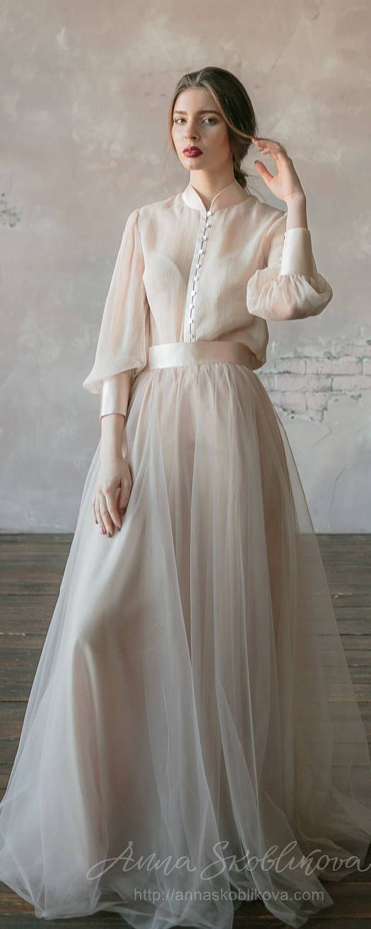 Vintage wedding dress from natural silk and blush tulle skirt. Victorian wedding dress, summer wedding dress, simple wedding dress 0134 2