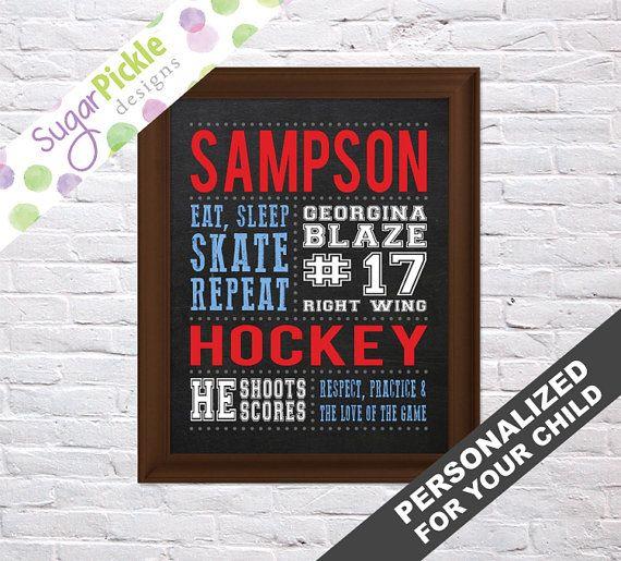 Hockey Chalkboard sign, Hockey Print, Personalized Hockey Art, Hockey Gift, Team Gift, Hockey Stats Art, Hockey Wall Art,