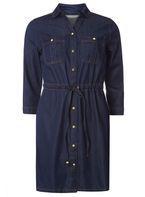 Womens Petite Denim Shirtdress- Blue