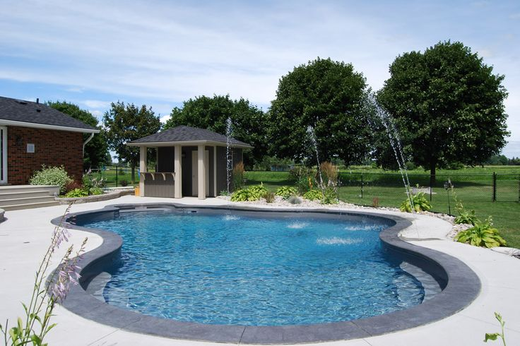 The Murphys Inground Pool is a country-chic design that features graceful flowing lines of the Miami shape and accented deck jets to create vibrance.