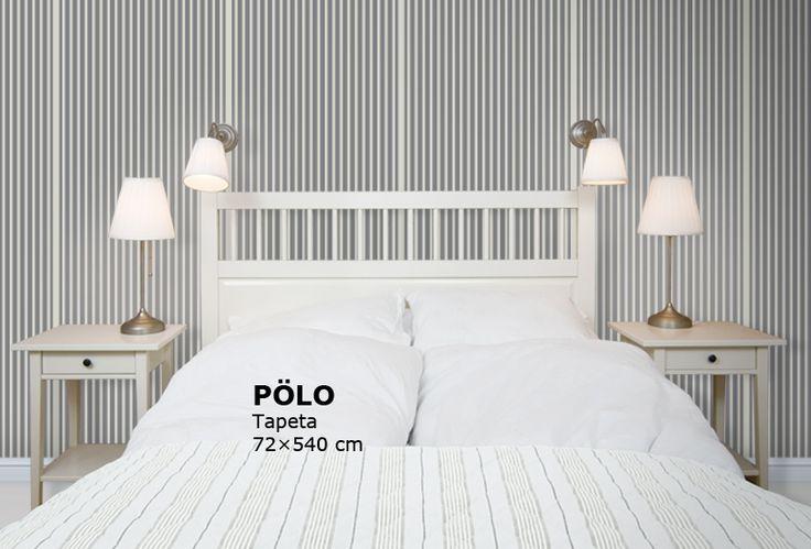 POLO tapeta s proužkem, béžová, bílá, ložnice IKEA, lampy