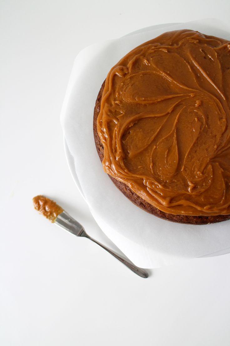 banana date walnut cake with caramel icing