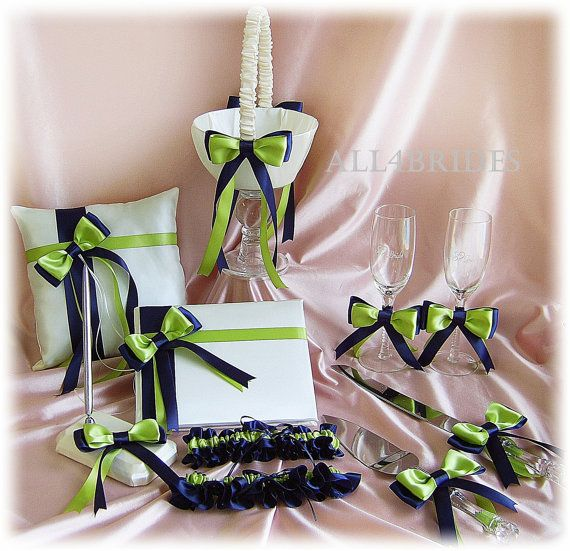 Navy and Green Wedding cakes | Navy Blue and Green Wedding Flower Girl Basket, Ring Pillow, Guest ...