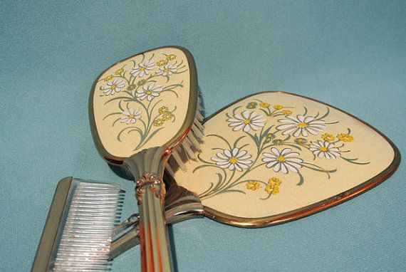 Vintage 1950s Daisy Hand Mirror Hair Brush Comb Vanity Set