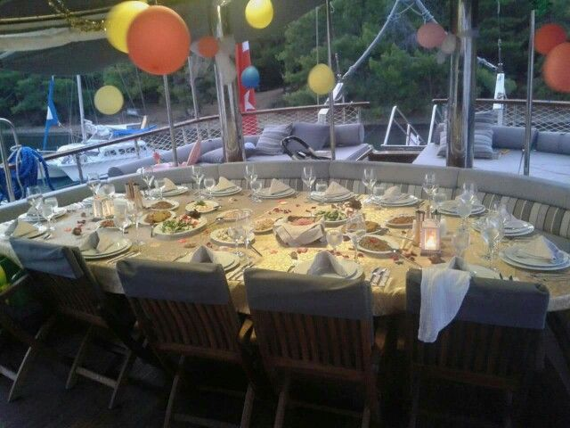 Table set for birthday dinner aboard #gulet #kaptanmehmetbugra