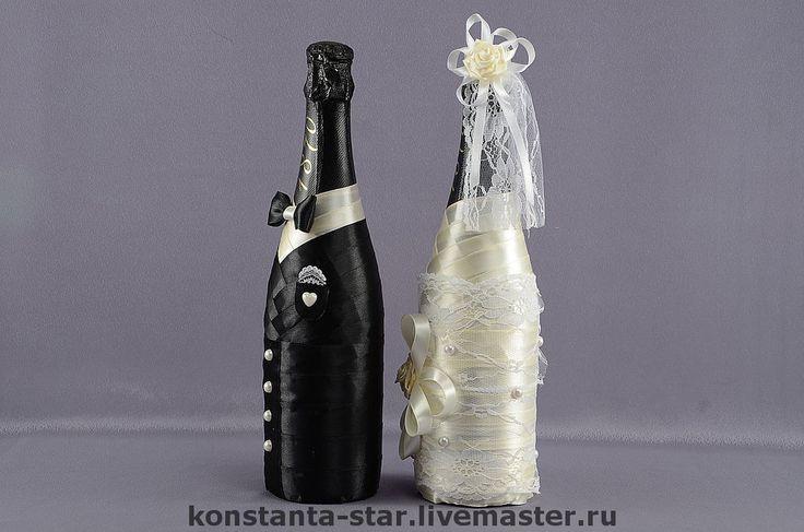 """Купить Декор шампанского """"Жених и Невеста"""" - свадебное шампанское, шампанское, шампанское на свадьбу, подарочное шампанское"""