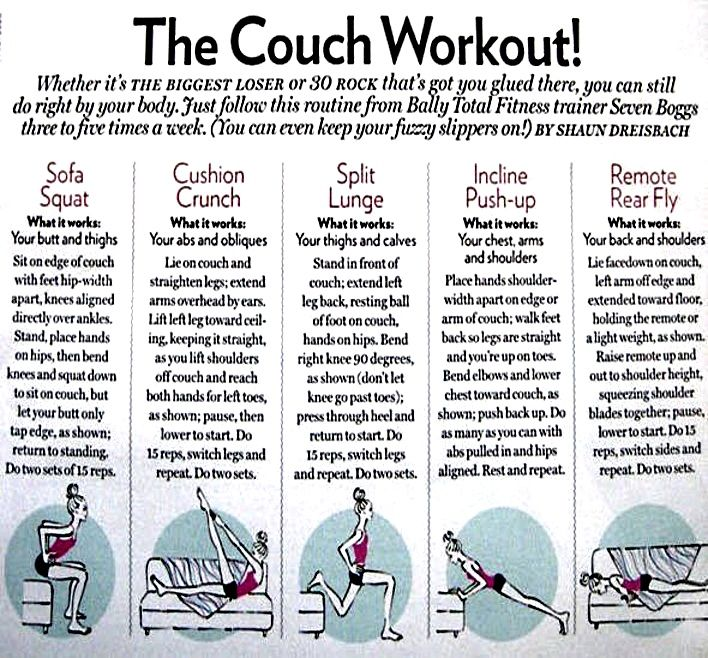 Couch workout health pinterest for Sofa workout