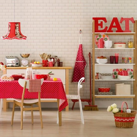 red spotted dining room bright red polka dots are set against a muted ...