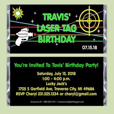 Laser Tag Birthday Candy Bar Wrapper #birthdayparty #laser #tag #candy #bar #party