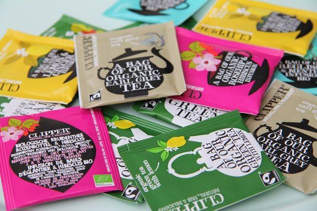 Het merk Clipper heeft prachtige geillustreerde verpakkingen voor de biologische thee. O.a verkrijgbaar bij Albert Heijn.