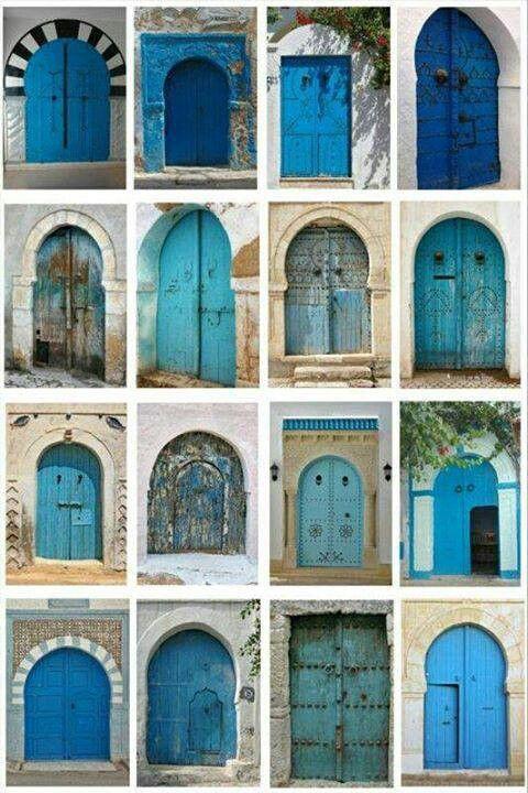 bright moroccan blue doors   Blue Doors