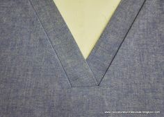 Tutorial for making different types of necklines in V, widely used in work uniforms. Website is in Spanish.