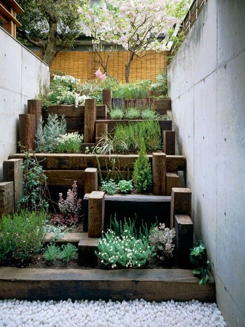 terraced garden in very narrow space between retaining walls