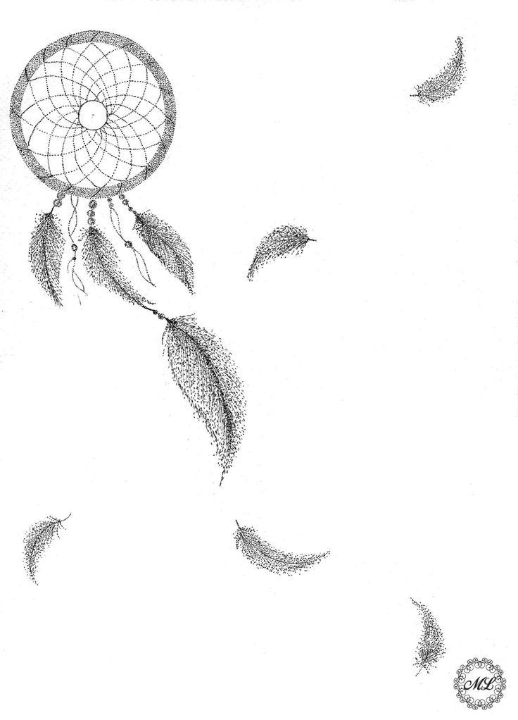 Attrape rêve en pointillisme noir et blanc sur feuille : Dessins par xmarydarksidex