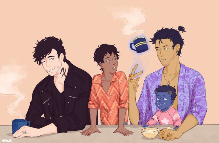 """art-by-nicolas: """" mornings for the Lightwood-Bane family are as magical as can be """"[please stop reblogging the old version of this] """" """" blueberry!"""