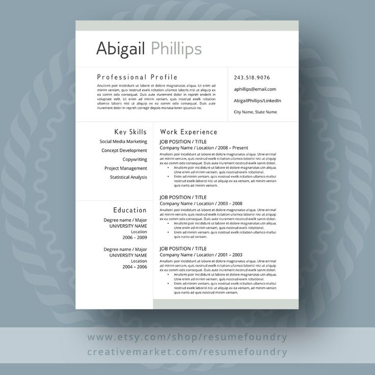 Modern Resume Template Two Page Cover Letter Use with - resume or word