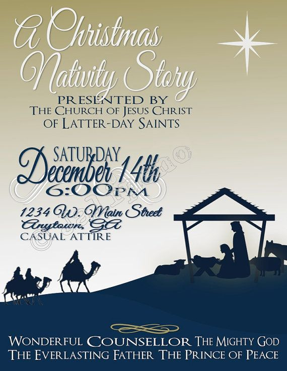 Lds Ward Christmas Party Program Ideas Part - 46: Christmas Nativity Presentation Poster Flyer Invitation Advertisement  Digital CUSTOM PRINTABLE Church School Baptist Christian Mormon Ward