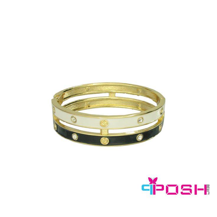 Holly - black and white bangle bracelet with gold trim. - Dimensions: 6.8cm x 1.7 $40 #bracelet #bangle