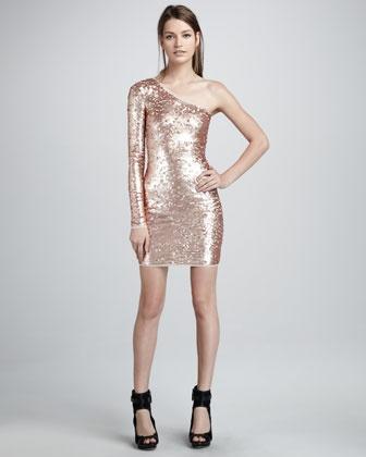 Single-Sleeve Sequined Dress - Neiman Marcus