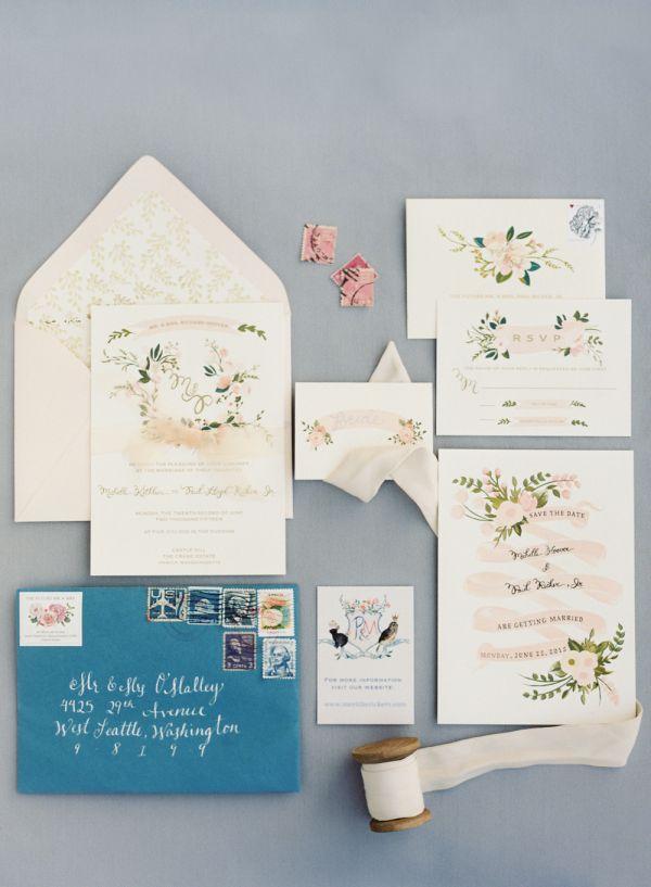 how to make film canister wedding invitations%0A Floral wedding invitation stationary  http   www stylemepretty com