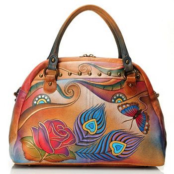 Anuschka Hand-Painted Leather Large Studded Satchel Handbag