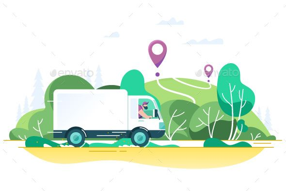 Flat Delivery Truck With Man Is Carrying Parcels Truck Delivery