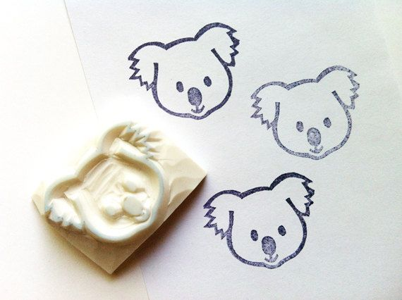 baby koala hand carved rubber stamp. australian animal stamp. diy birthday/christmas. scrapbook/gift wrapping/card making/craft projects