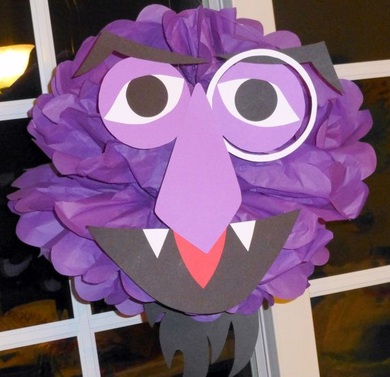 Purple Monster tissue paper pompom kit, inspired by The Count from Sesame Street