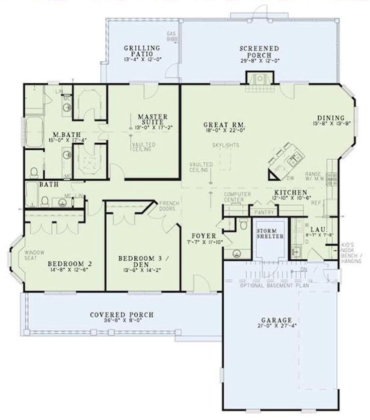 One level house plan (with optional basement) with 2131 sq. ft. Maybe straighten the island in the kitchen, and take out one of the master closets to create a sitting area...