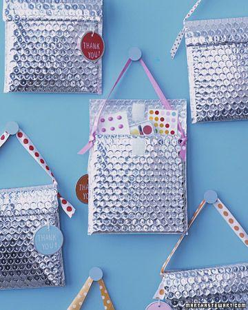 Party favor bags. Bubble wrap pouches lined with foil.