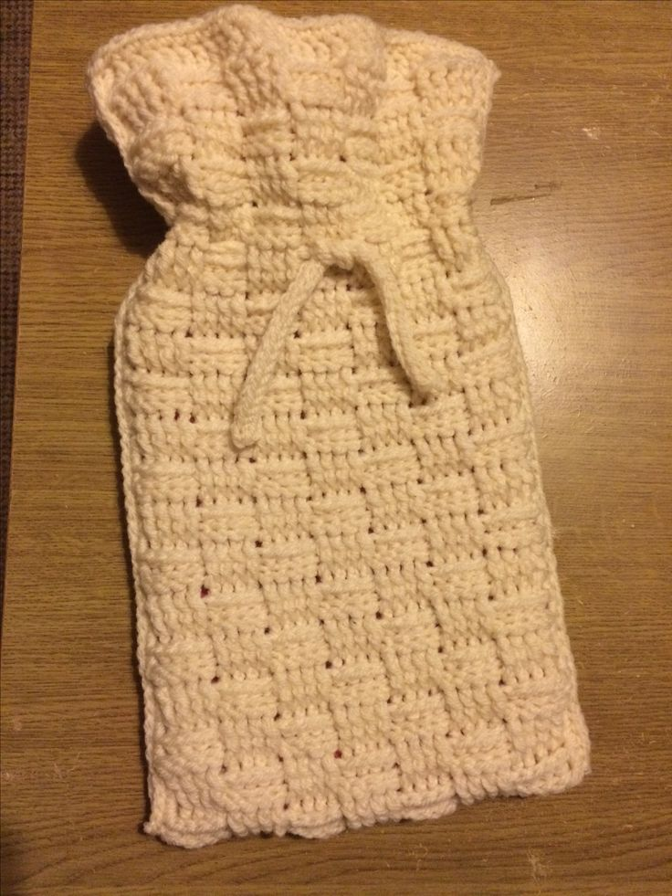 Hot water bottle cover made with the basket weave stitch and an icord tie, real easy to make, my own pattern buy nothing fancy :)