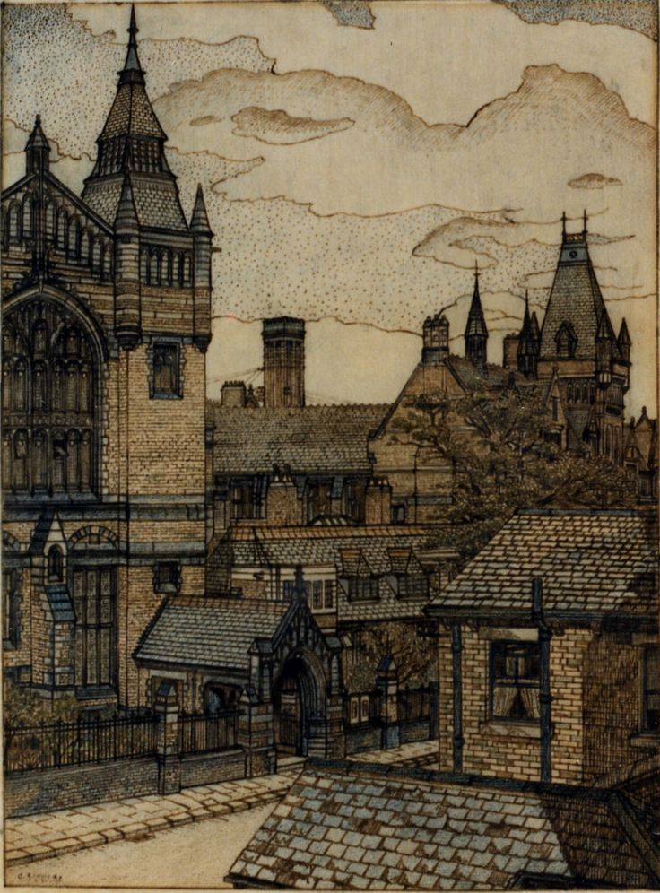 Charles Isaac Ginner (1878 - 1952) : University Buildings (c.1916)