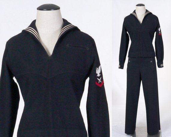 Vintage Wwii U S Navy Dress Blue Service Uniform Top Pants Sailor Cracker Jack Uniform Petty Officer Third Class 1940 S Navy Dress Navy Blue Dresses Blue Dresses