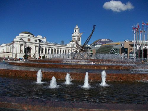 """Fountain """"The Rape of Europa"""" on the square in front of the capital Kiev railway station"""