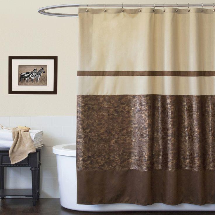 cream and brown shower curtain. Master bath  Found it at Wayfair Lush Decor Polyester Crocodile Shower Curtain 59 best Bathrooms images on Pinterest Bird shower curtain