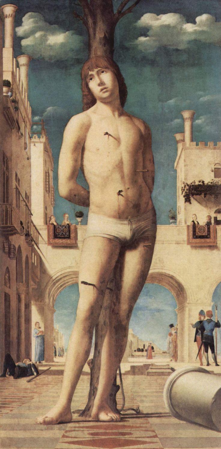 Antonello da Messina, San Sebastiano, olio su tavola trasportato su tela (171x85,5 cm), 1478, Gemäldegalerie di Dresda.